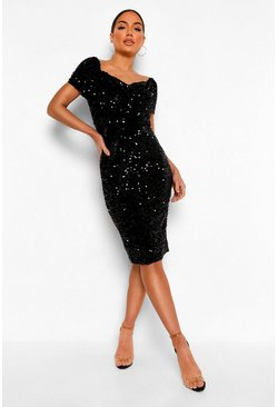 Black Sequin Off The Shoulder Tie Waist Midi Dress