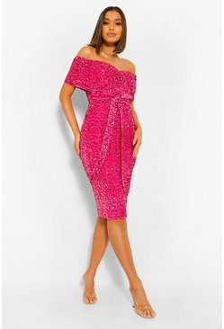 Magenta pink Sequin Off The Shoulder Tie Waist Midi Dress
