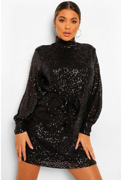 Black Sequin High Neck Long Sleeve Tie Waist Mini Dress