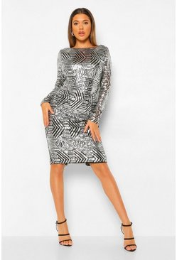 Black Sequin Long Sleeve Open Cowl Back Midi Dress