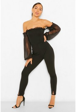Black Bardot Mesh Sleeve Jumpsuit