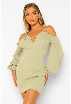 Deep Plunge Volume Sleeve Mini Dress, Sage gerde