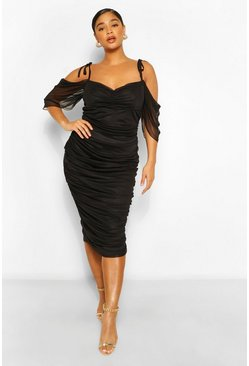 Black Plus Angel Sleeve Ruched Mesh Midi Dress