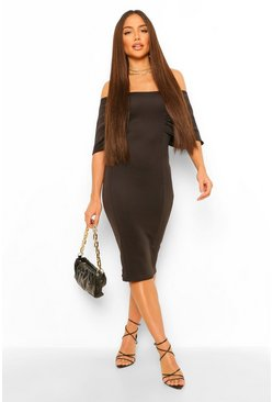 Black Raglan Angel Sleeve Midi Dress