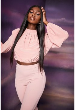 Rose pink High Neck Draped Front Crop Top