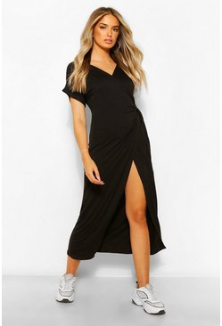 Black Wrap Midaxi Dress