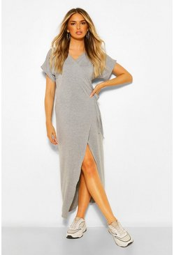 Grey marl grey Wrap Midaxi Dress