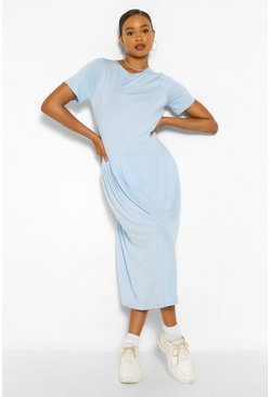 Blue Drop Waist Midaxi Dress
