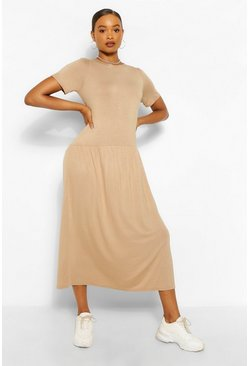 Camel beige Drop Waist Midaxi Dress