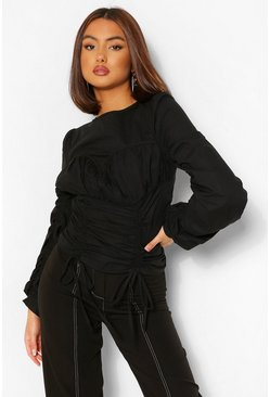 Black Cotton Poplin Cup Detail Ruched Blouse