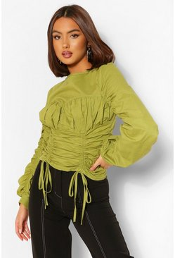 Olive green Cotton Poplin Cup Detail Ruched Blouse