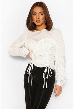 White Cotton Poplin Cup Detail Ruched Blouse