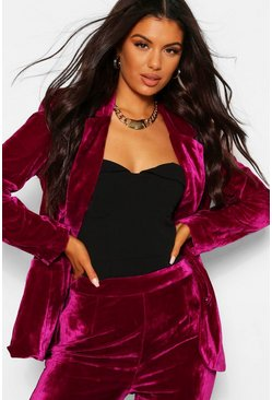 Raspberry pink Tailored Velvet Blazer