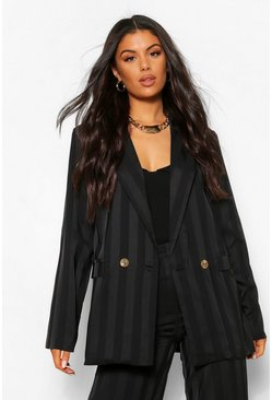 Black Metallic Stripe Longline Blazer