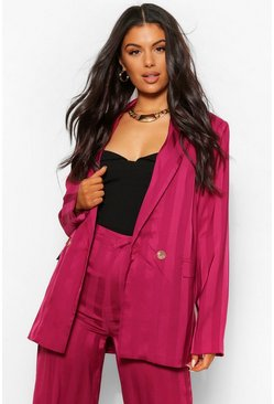 Burgundy red Metallic Stripe Longline Blazer