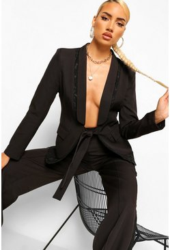 Black Tailored Lace Insert Tie Front Blazer
