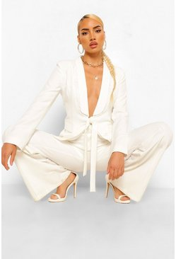 White Tailored Lace Insert Tie Front Blazer