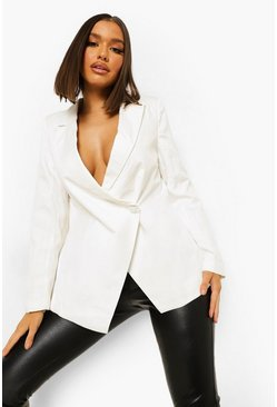 White Tailored Open Back Blazer