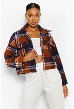 Rust orange Wool Look Checked Trucker Jacket