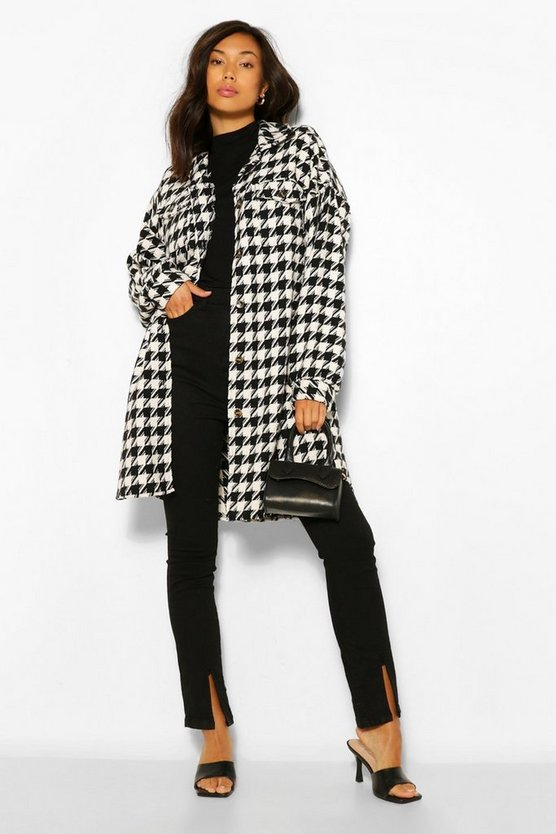 Super Oversized Wool Look Dogtooth Shacket
