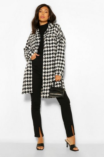 Black Super Oversized Wool Look Dogtooth Shacket