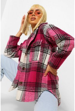 Pink Check Wool Look Oversized Shacket