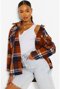 Rust orange Oversized Checked Shacket