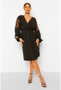 Lace Insert Plunge Wrap Midi Dress, Black nero