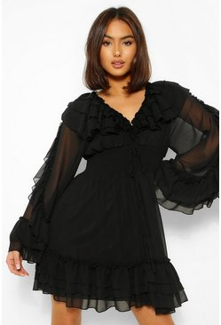 Black Extreme Ruffle Plunge Mini Dress