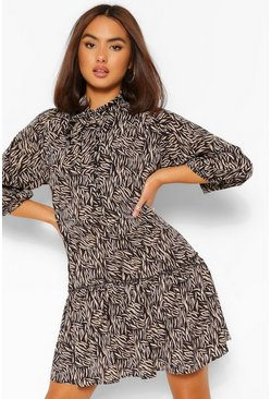 Black Zebra Print Pussybow Belted Shirt Dress