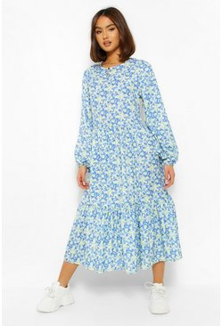 Blue Oversized Balloon Sleeve Midaxi Dress