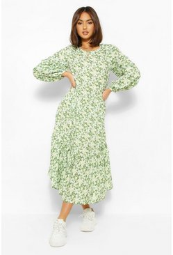 Olive green Oversized Balloon Sleeve Midaxi Dress