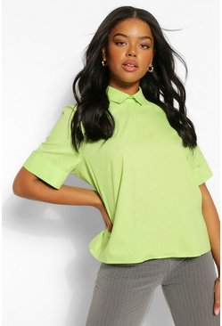 Lime green Katoenen Poplin Blouse Met Open Rug Met Strik