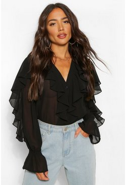 Black Chiffon Ruffle V Neck Blouse