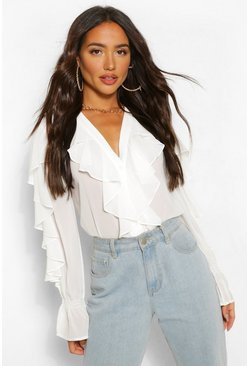 White Chiffon Ruffle V Neck Blouse