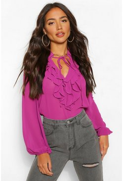 Raspberry Chiffon Ruffle Collar Blouse