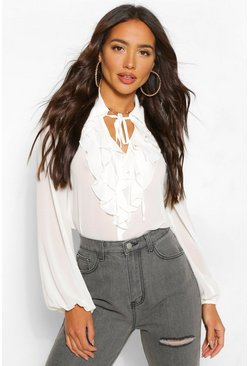 White Chiffon Ruffle Collar Blouse