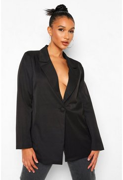 Black Tailored Self Button Blazer