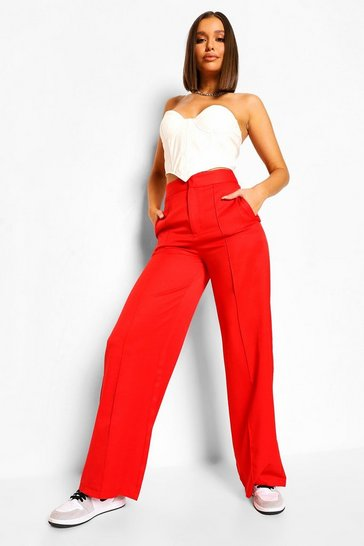Red Tailored Seam Detail Wide Leg Trousers