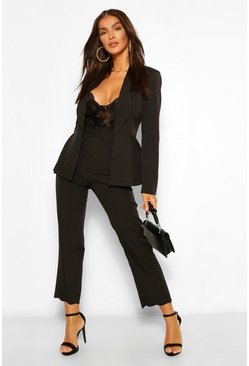 Black Tailored Scallop Hem Straight Leg Trouser