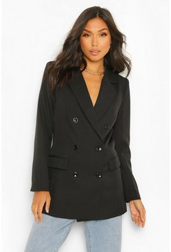 Black Tailored Long Line Double Breasted Blazer