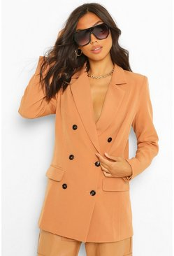 Camel beige Tailored Long Line Double Breasted Blazer