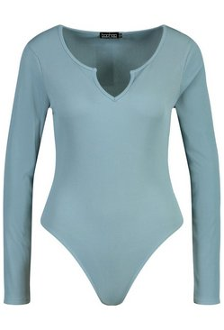 Blue Rib Notch Neck Long Sleeve Bodysuit