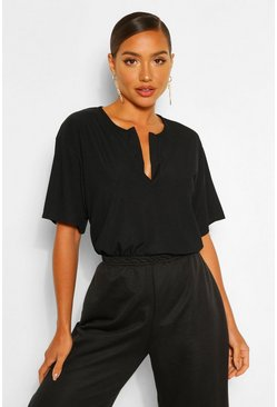 Black Rib Notch Neck Oversized T Shirt