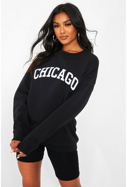 Black Chicago Slogan Oversized Sweater