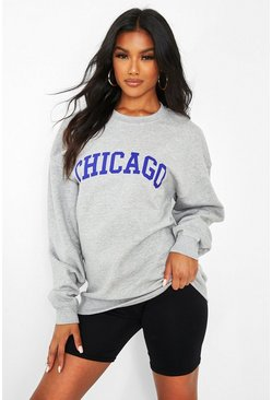 Chicago Slogan Oversized Sweat, Grey marl grau