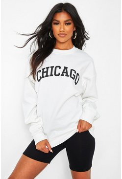 Chicago Slogan Oversized Sweat, White weiß