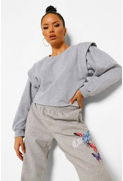 Grey Shoulder Detail Sweat