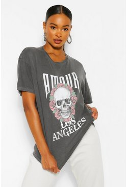 Black Amour Skull Washed Rock Tee