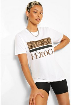 White Fierce Animal Slogan Oversized T-Shirt
